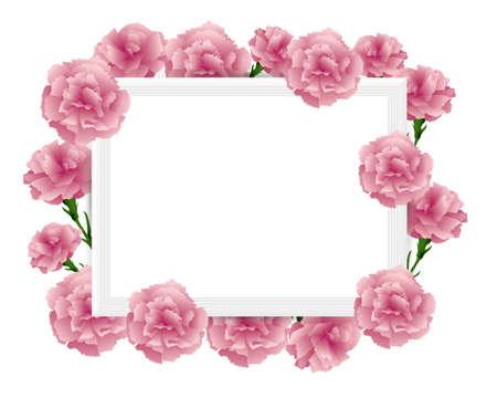 art frame with carnations illustration