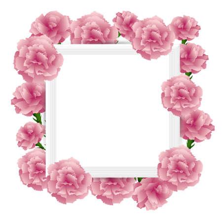 art frame with carnations illustration Foto de archivo - 142526999