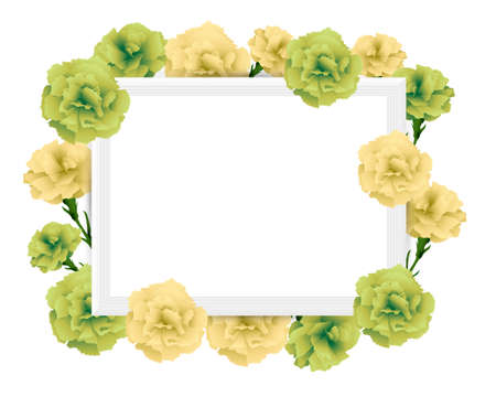 art frame with carnations illustration Foto de archivo - 142527005
