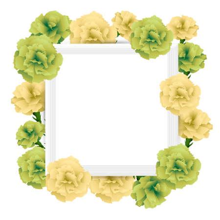 art frame with carnations illustration Foto de archivo - 142527003