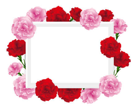 art frame with carnations illustration Foto de archivo - 142527004