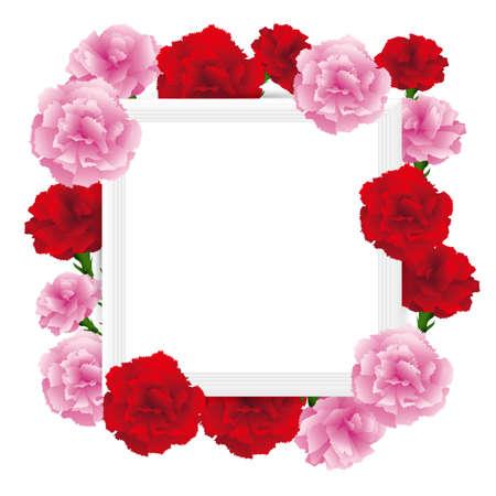 art frame with carnations illustration Foto de archivo - 142527002
