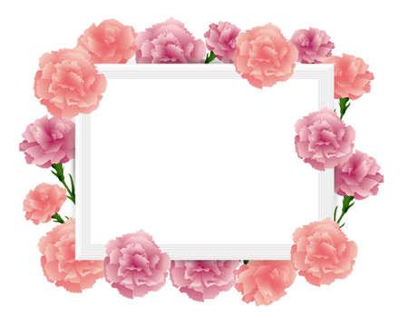 art frame with carnations illustration Foto de archivo - 142527009