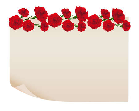 background of carnations illustration with old paper Foto de archivo - 142527012