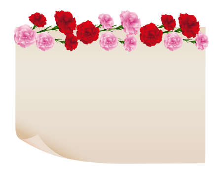 background of carnations illustration with old paper Foto de archivo - 142527010