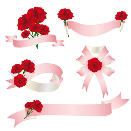 Decoration of carnations  with ribbon Foto de archivo - 142941123