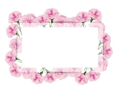 rectangular frame of carnations illustration Foto de archivo - 142608480