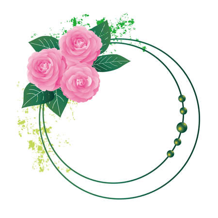 Background illustration of Camellia decorations Foto de archivo - 143978577