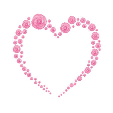 Heart frame of Camellia illustrations Foto de archivo - 143996781