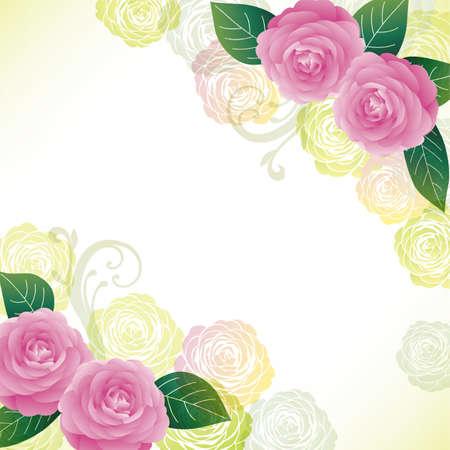 background illustration of Camellia decorations Foto de archivo - 144989206