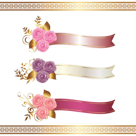 Decoration of Camellia and ribbon