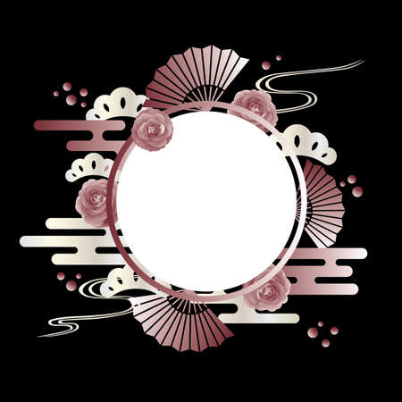 background of camellia and japanese pattern
