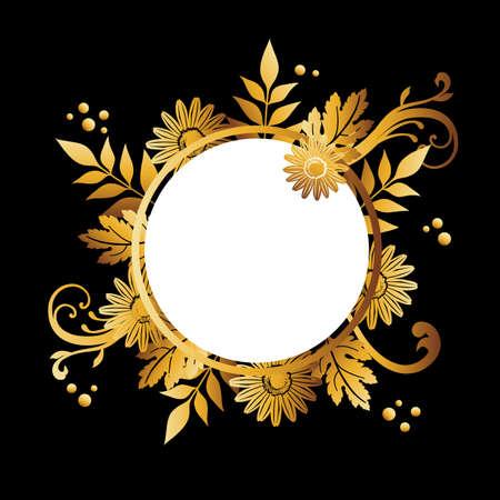 golden daisies on the black background Foto de archivo - 145285605