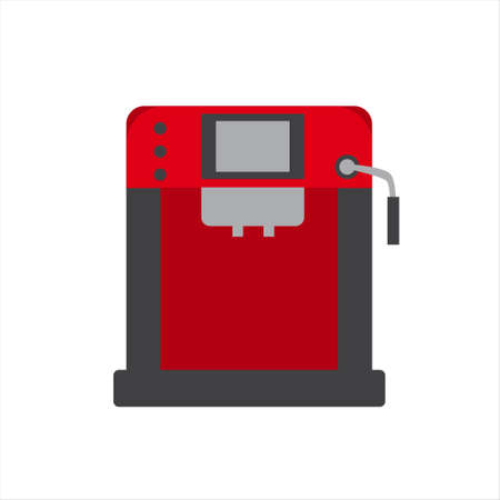 Red and gray coffee machine vector flat illustration