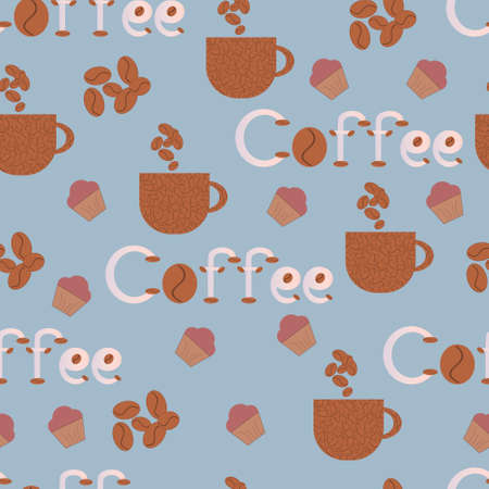 Seamless vector pattern, coffee background with cakes, cup, text, coffee beans.