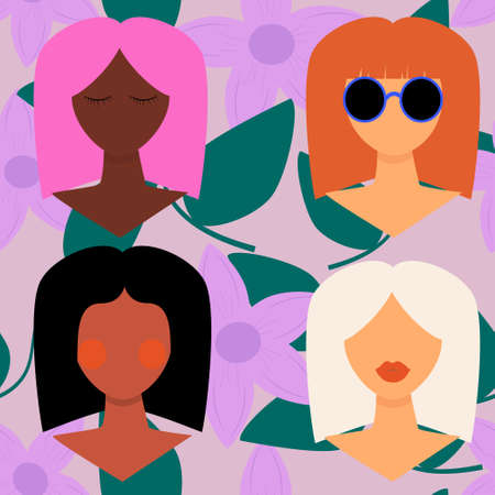 Four women of different nationalities and cultures. Girl with different skin and hair color. Women's friendship, union of feminists, sisterhood or international Women's Day concept. Vector, flat. Vettoriali