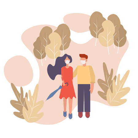 Cute couple walking in the autumn park in mask.