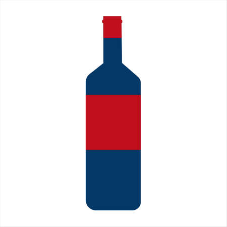 Navy blue wine bottle with red label vector illustration on a white background