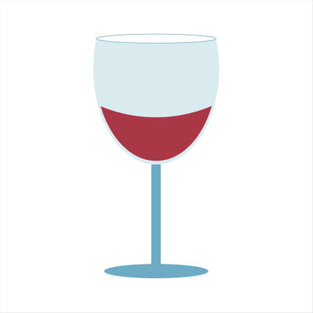 Red wine in a glass vector illustration on  white