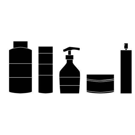 Hair care set with shampoo, balm, mask and polish. Hairdresser tool simple isoleted vector icon