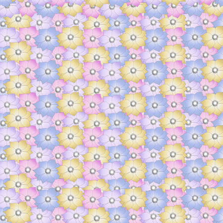 Floral seamless vector pattern with different color anemones flower Ilustrace