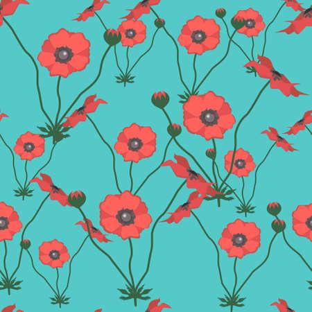 Seamless vector pattern with poppy flower. Summer garden wildflowers
