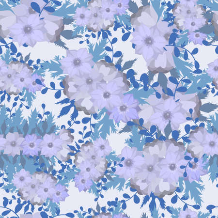 Floral seamless vector pattern with anemones flower and leaf