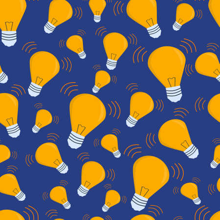 Seamless vector pattern with light bulb on a blue background. Business, big idea, innovation concept. Decorative wallpaper