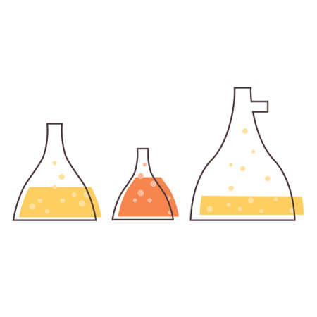 Set with medical laboratory equipment - flasks. soleted vector flat illustration 矢量图像