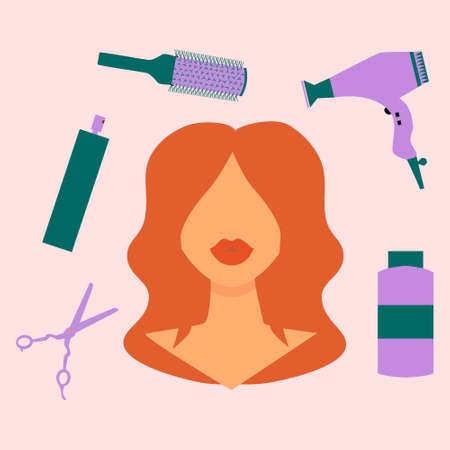 Ginger girl with red lipstick. There are hairdressing tools hairdryer, spray, scissors, brush, shampoo around her head. Pink background. Flat vector illustration.Beauty salon, hairdresser concept.