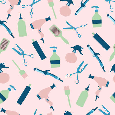 Trendy color hairdresser tools seamless pattern with curling iron, hair blow, comb, bruh and hair spray. Flat vector illustration.