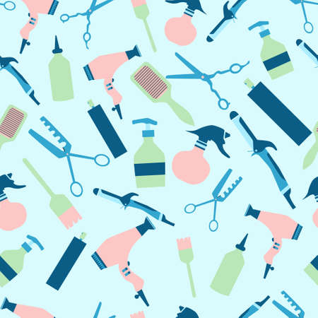 Trendy color hairdresser tools seamless pattern with curling iron, hair blow, comb, brush and hair spray. Flat vector illustration.