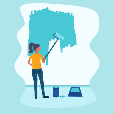 Women painting wall. Vector illustration in '' Home repair '' or '' Home renovation '' theme