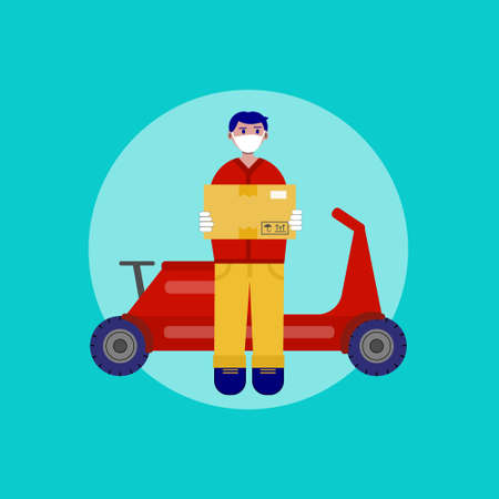 Safe delivery sevice. Young courier on a red scooter delivering parcel to the home of customer with protective mask and gloves. Online order, food or piizza service concept. Vector flat illustration 矢量图像