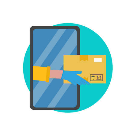 Parcel, delivery service, onlaine ordering, shopping, ecommerce concept. Safe delivery, hands in gloves pass the parcel through the smartphone. Symbol for websites, mobile app. Flat vector illustration