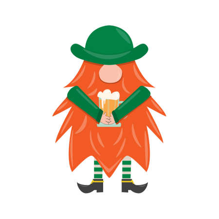 St. Patrick s Day leprechaun. Cute funny garden gnome whith beer. Cartoon vector isolated illustration for pub invitation, t-shirt design, cards or decor Ilustração