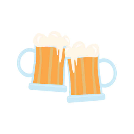 Mug of beer. Element for St. Patrick s Day. Cartoon vector illustration for pub invitation, t-shirt design, cards or decor