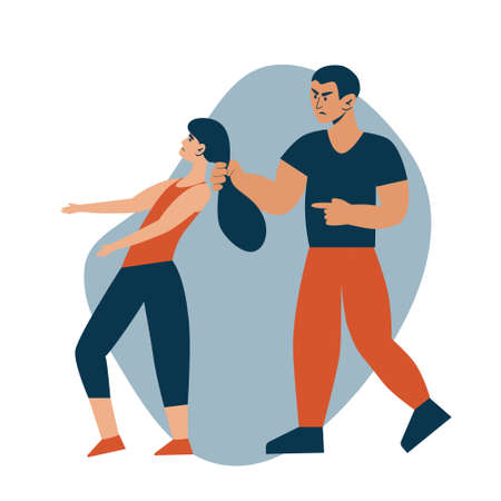Stop domestic violence. Social issues, abuse and agression on women, harassment and bullying. Violence against woman. Man hitting his wife. Flat vector illustration, isolated on a white background. Ilustração