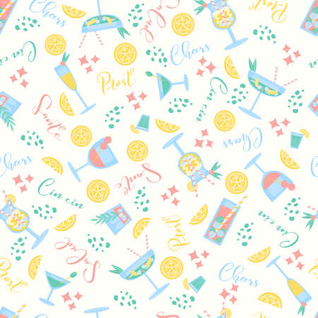 Seamless pattern with cocktails cheers, prost, cin cin, salud, sante words. Party, pub, restoraunt or club element. fresh and cold alcohol coctail. Vector flat illustration, isolated on a white. Vector Illustration