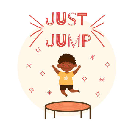 Cute little smilinng afro american boy in the glasses and yellow t-shirt jumping on trampoline. Cartoon vector illustration, isolated on a white background Vecteurs