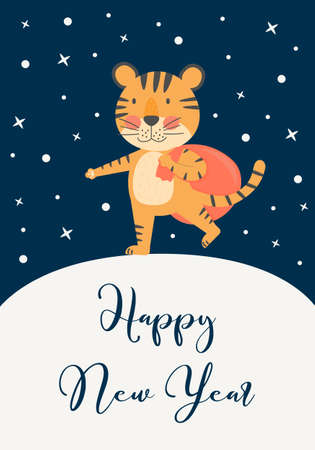 Happy New Year greeting card with cute tiger, symbol 2022, year mascot. Holiday winter and christmas concept with vector flat character