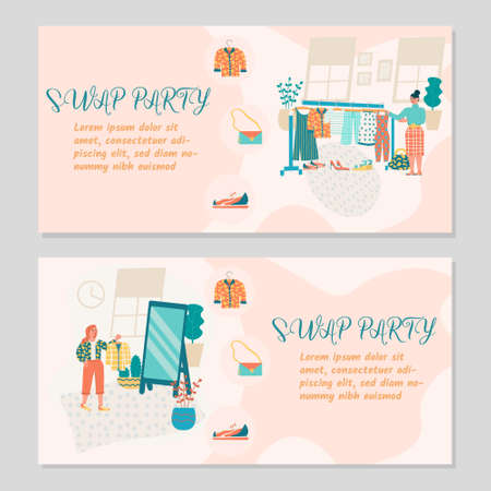 Swap party concept. Eco friendly party, exchange clothes, shoes and accessories. Vector illustration for banner, poster, layout,flyer, invitation, advert Vector Illustratie