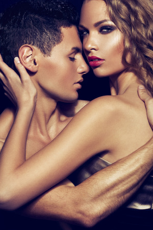 elegance fashion girls look sensuality young: Pure passion Stock Photo