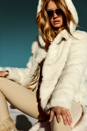 white fur: Winter Girl in Luxury Fur Coat. Fashion Fur. Landscape