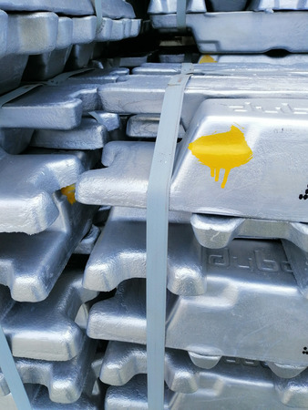 Aluminium bars in the cargo for transportation to factory Stock Photo