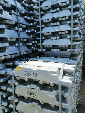 Aluminium bars in the cargo for transportation to factory Archivio Fotografico