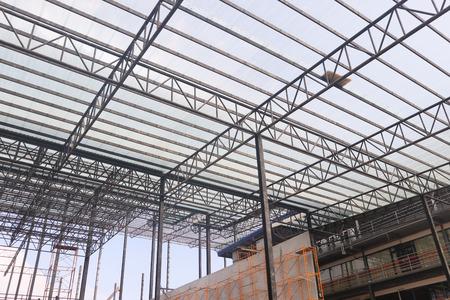 Diseño de construcción de edificios de estructura de acero metálico Foto de archivo