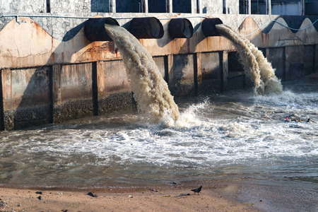 Waste water discharge pipe into canal and sea