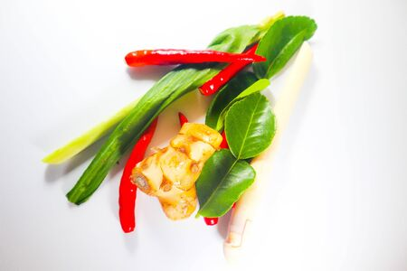 Set of Fresh Herbs and Ingredients of Thai spicy food or tom yum on white isolated background