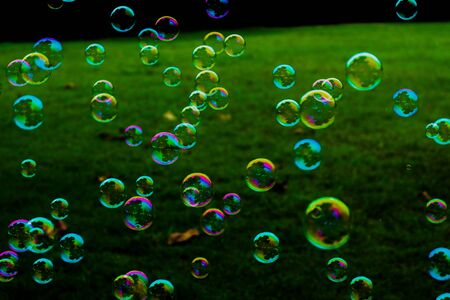Beautiful abstract texture colorful pink and blue soap bubbles on the green and darkness background and wallpaper